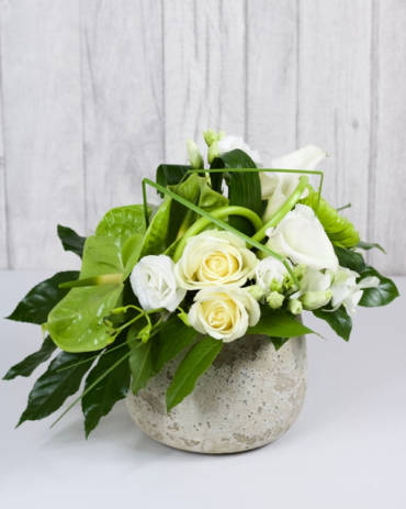 Classic Contemporary Arrangement - Elegant stems of anthurium, calla lily, roses and shamrock blooms tastefully arranged in a distressed stone container to give a contemporary feel - Flowers in Newbury by Willow & Blooms