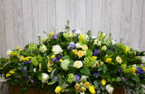 Large Sympathy Spray - A favourite selection of cream, blue, yellow and lime flowers arranged with lush foliages this piece is designed as the main floral tribute - Flowers in Newbury by Willow & Blooms