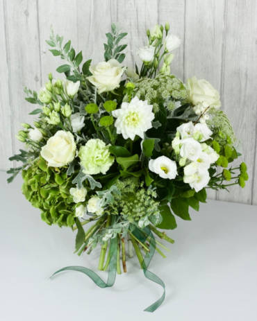 Misty Morning Selection - This hand-tie is designed with a gorgeous selection of textured foliages to support the all white and green flower stems creating a classic design perfect for any occasion - Flowers in Newbury by Willow & Blooms
