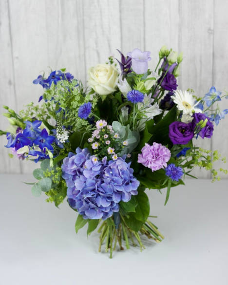 Moody Blue Selection - A hand-tie of seasonal blues, with a hint of lilac and purple finished with soft cream and white. - Flowers in Newbury by Willow & Blooms