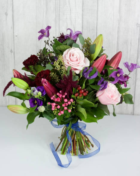 Plum Jam Selection - The darker shades of pink and burgundy combined with pretty pale pink roses and eucalyptus - Flowers in Newbury by Willow & Blooms
