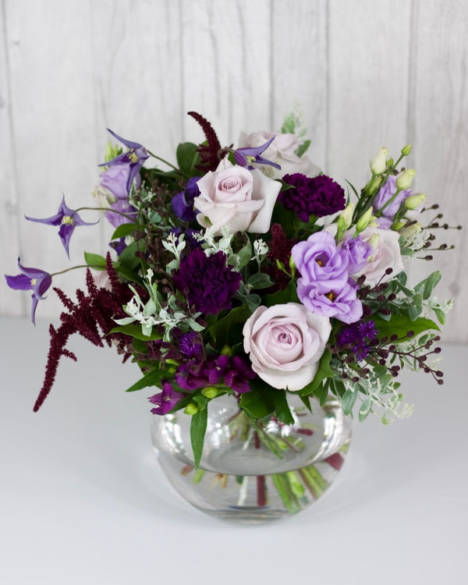 Purple Haze Selection - All the shades of lilac and purple with a hint of burgundy arranged hand-tied in a glass vase - Flowers in Newbury by Willow & Blooms