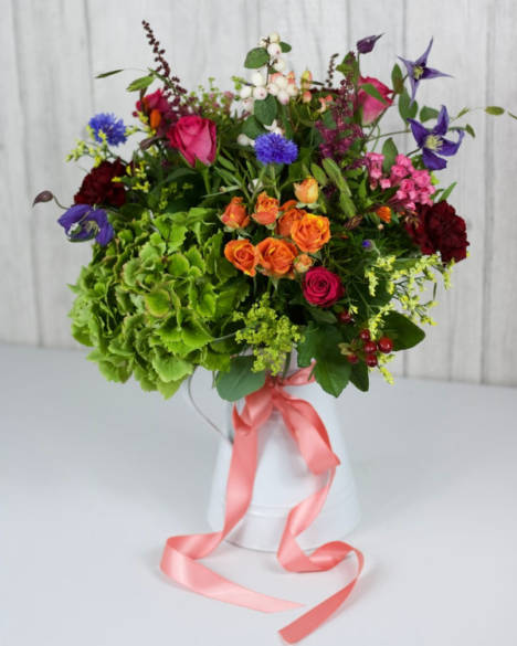 Vintage Zinc Jug - This gorgeous display arrives in a keepsake zinc jug. Flowers and foliages are carefully selected to create a bright mix of interesting textures and autumnal stems in a country style - Flowers in Newbury by Willow & Blooms
